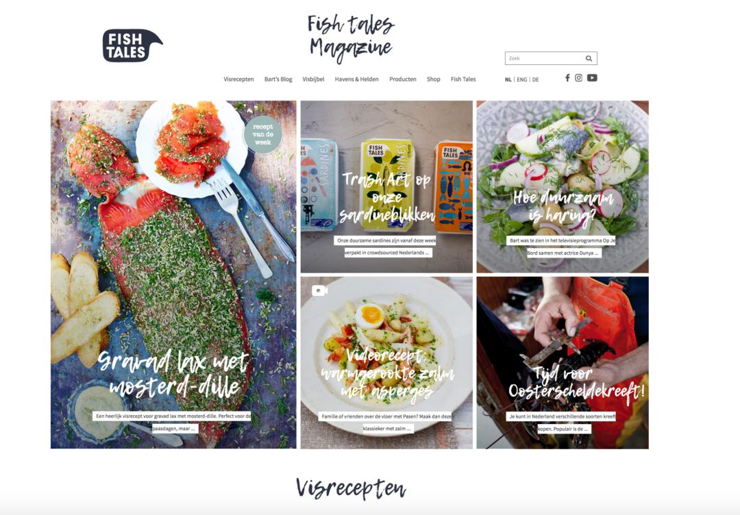 Fish Tales: redactioneel platform met thema's en rubrieken, plus schrijfwijzer.